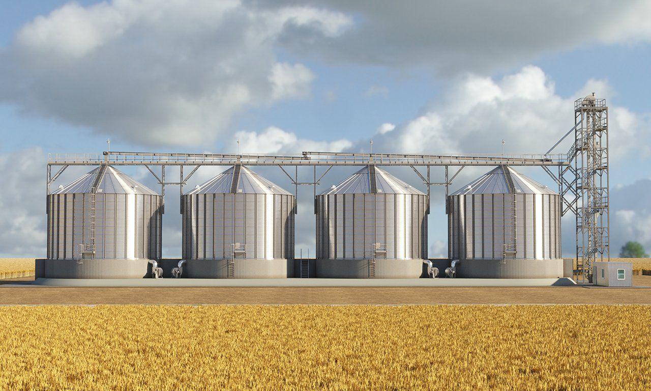 Силосы, бункеры для хранения зерна и сыпучих веществ